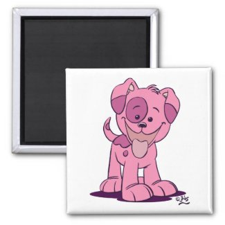 Little pink puppy magnet magnet