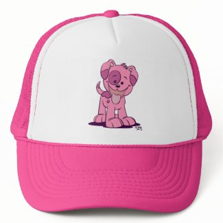 Little pink puppy trucker hat hat