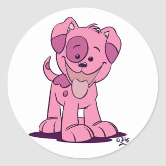 Little pink puppy women sticker sticker