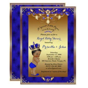 Little Prince Baby Shower Invitation, Royal Blue Card