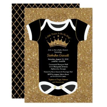 Little Prince Black & Royal Gold Baby Shower Card