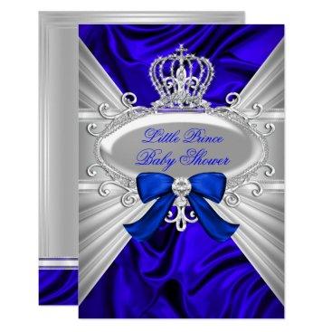 Little Prince Royal Blue Boy Baby Shower Invite