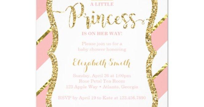 Little Princess Baby Shower Invite Faux Glitter Invitation Zazzle Com