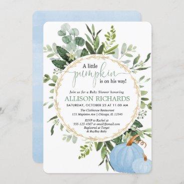 Little pumpkin blue greenery boy baby shower invitation