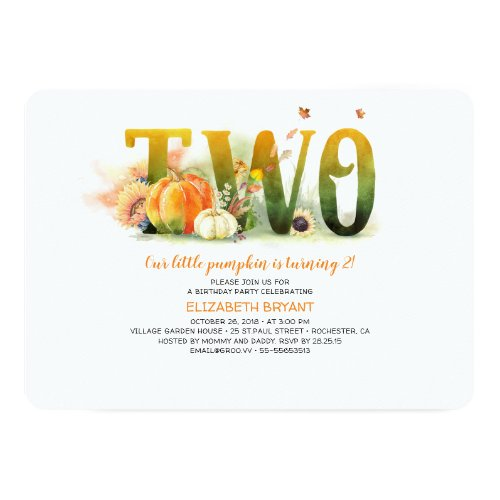 Little Pumpkin Fall 2nd Birthday Party Invitation
