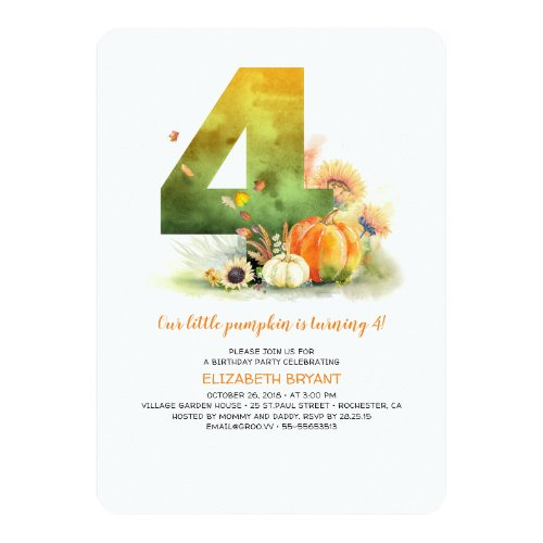 Little Pumpkin Fall 4th Birthday Party Invitation