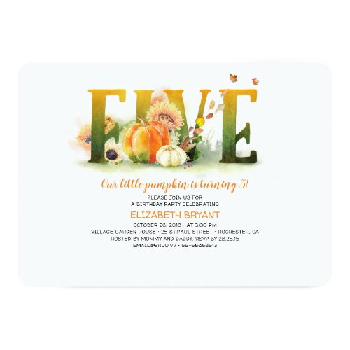 Little Pumpkin Fall 5th Birthday Party Invitation