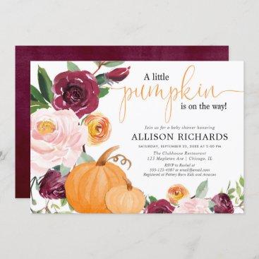 Little pumpkin fall floral girl baby shower invitation