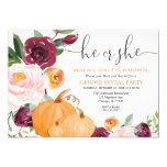 Little pumpkin fall gender reveal floral invitation