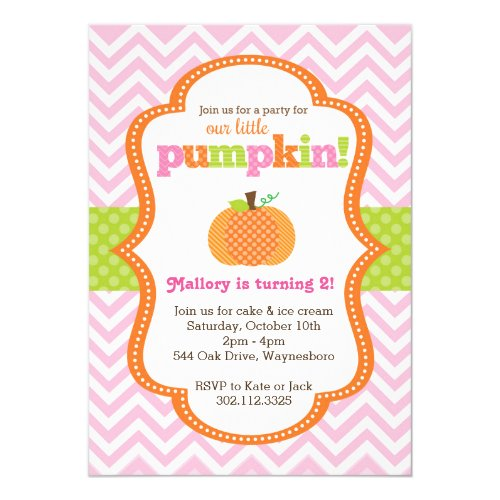 Little Pumpkin Girl Birthday Party Invitation
