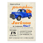 Little Pumpkin Vintage Car Boy Birthday Invitation