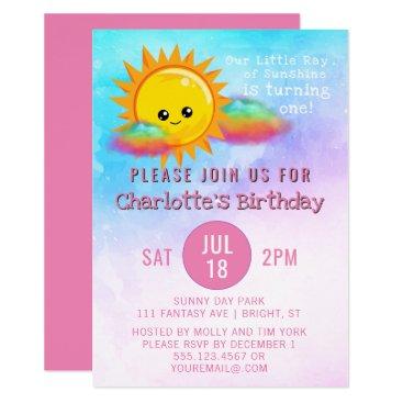 Little Ray of Sunshine Girls 1st Birthday Party Invitation