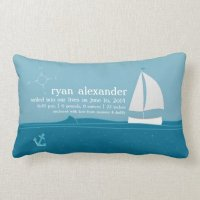 Little Sailor Birth Announcement Pillow