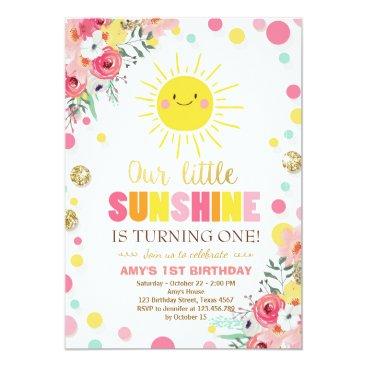 Little sunshine Birthday invitation Pink Floral