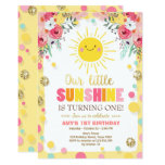 Little sunshine Birthday invitation Pink Floral