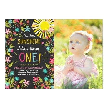 Little Sunshine Birthday Party Invitation Floral