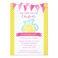 Little Sweetie Pink Lemonade Bunting Birthday Card