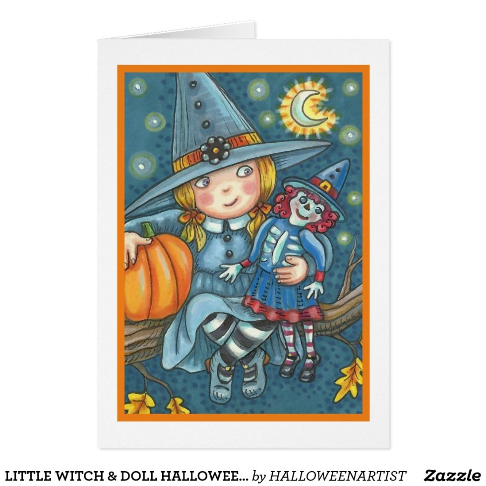 LITTLE WITCH & DOLL HALLOWEEN GREETING CARD Blank