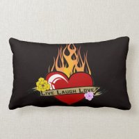 Live Laugh Love Tattoo Heart Pillow
