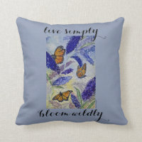 Live Simply Butterfly Watercolor Art Throw Pillow