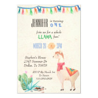 Llama Alpaca Child's Birthday Party Invitation