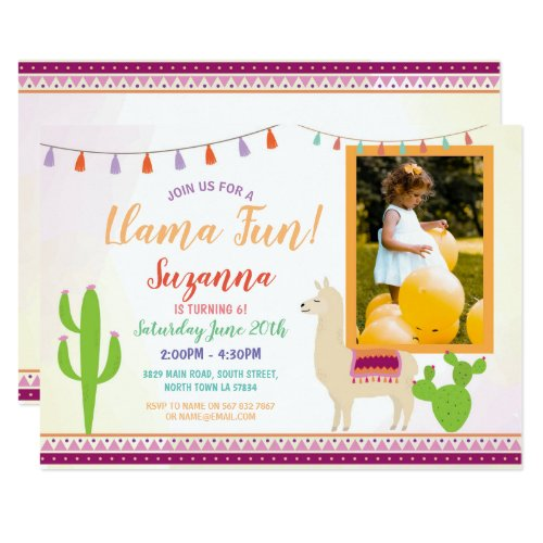 Llama Birthday Cactus Party Fiesta Photo Invite