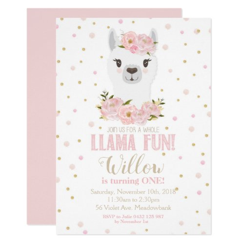 Llama Birthday Invitation Blush Floral Girl