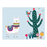 ❤️ Cute Llama With Cactus Postcard