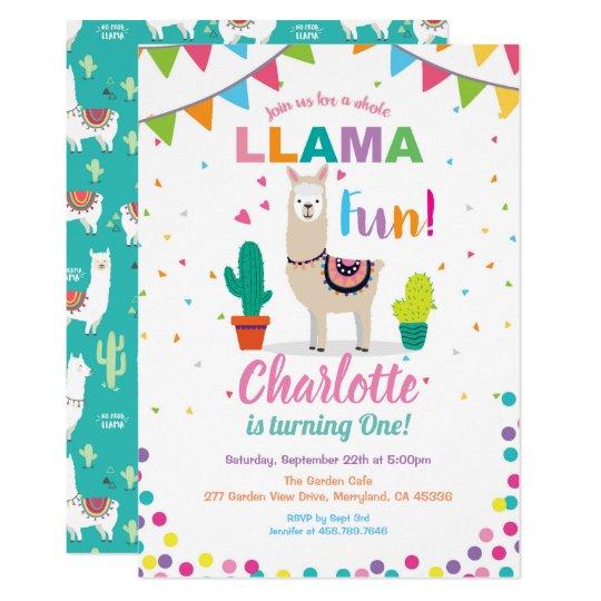 llama fun birthday invitation