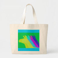 Llama Heads in Bright Bold Graphic Colors Large Tote Bag