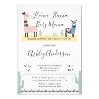Llama Mama Alpaca Baby Shower Invitation