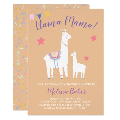 Llama Mama Baby Llama Peach Purple Baby Shower Invitation