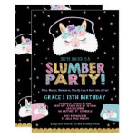 ❤️ Llama Slumber Party Birthday Invitation Sleepover