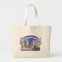 Llamas- HAVE YOU HERD? PUN INTENDED Large Tote Bag