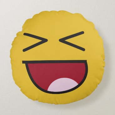 lol. emoji round pillow