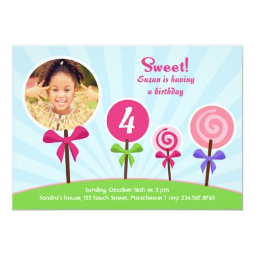 Lollypop Birthday Photo Flat Invitation