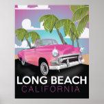 Long Beach California vintage travel poster
