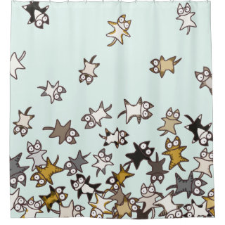 Lots of cats Pale blue Shower Curtain