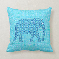 Lotus flower elephant - turquoise throw pillow