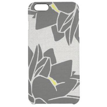 Lotus Flower linen look black Clear iPhone 6 Plus Case