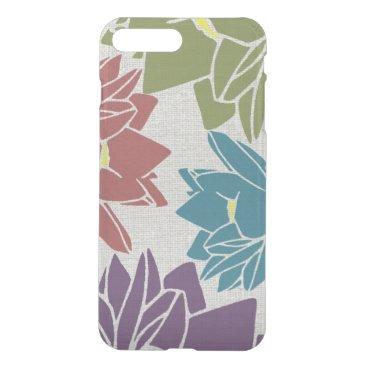 Lotus Flower linen look purple cyan green red iPhone 8 Plus/7 Plus Case
