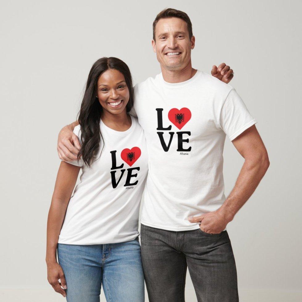 Love Albani Couple T-Shirt - Cute Couple Outfits National Flag