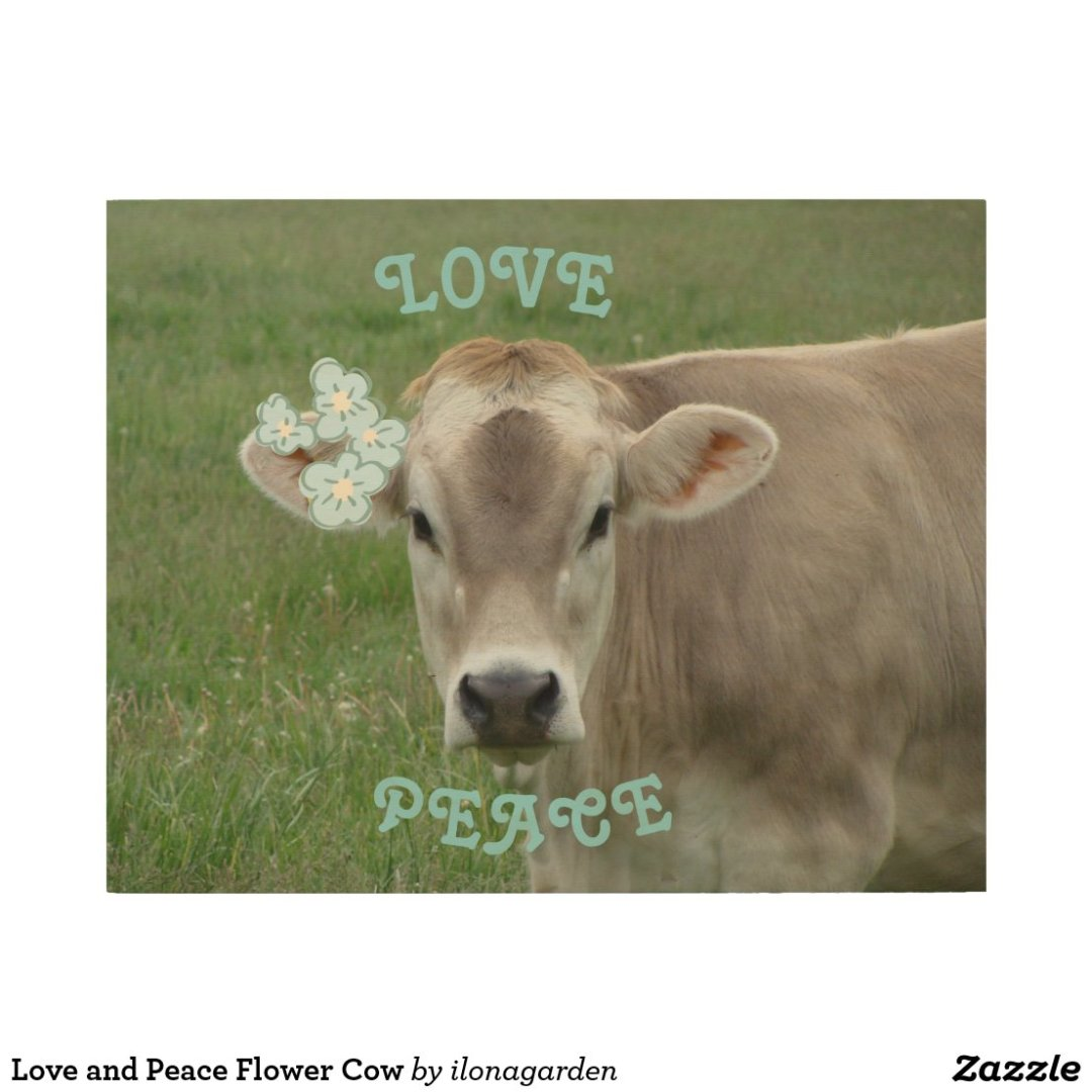 Love and Peace Flower Cow Wood Wall Art