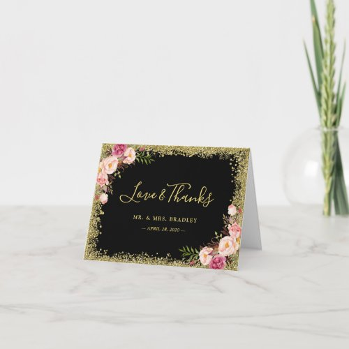Love and Thanks Black Gold Glitter Pink Floral Thank You Card