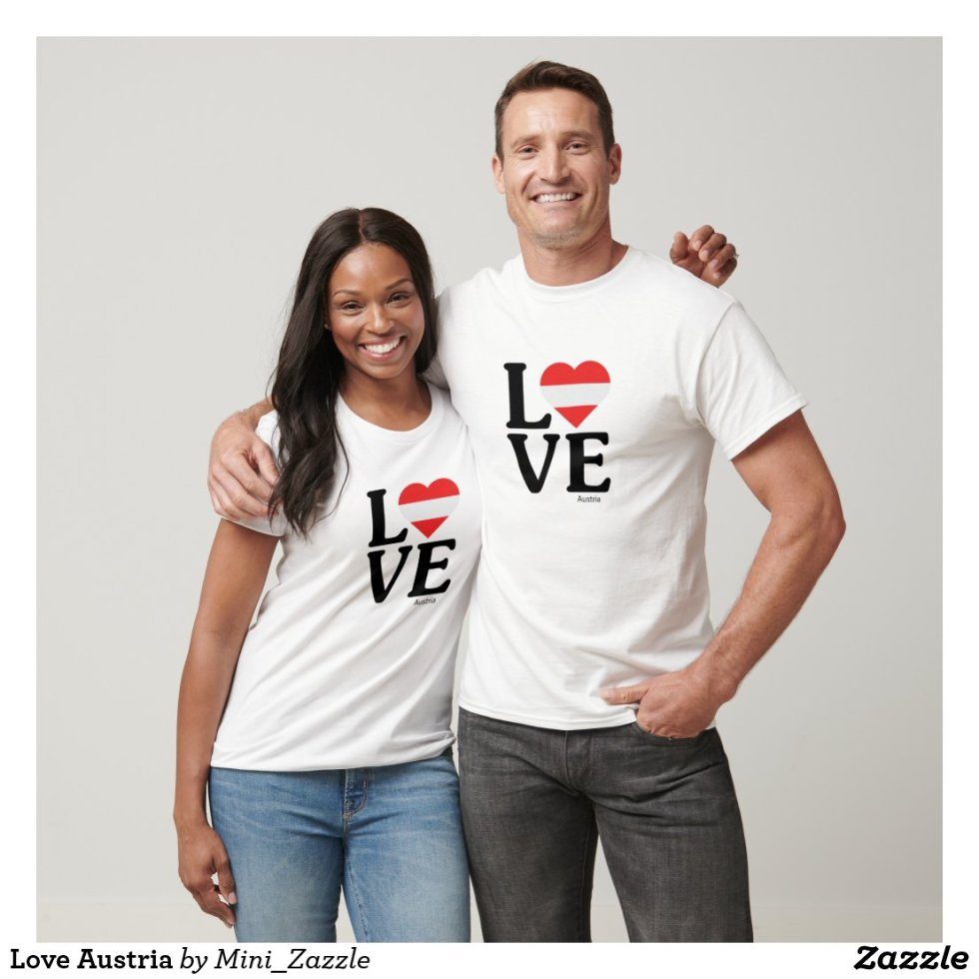 Love Couple Austria T-Shirt - Cute Couple Outfits National Flag