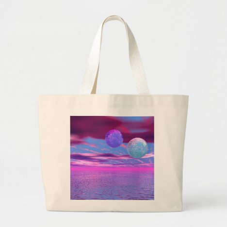 Love Birds - Abstract Pink and Purple Passion Large Tote Bag