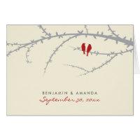 Love Birds Custom Thank You Card (cranberry)