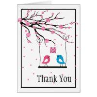 Love Birds Sakura Double Happiness Wedding Card