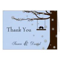 Love Birds Snowflakes Oak Tree Winter Thank You Card