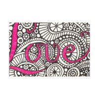 Love Doodle Wrapped Canvas Wall Art | Zazzle